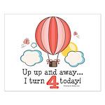 Fourth 4th Birthday Hot Air Balloon Small Poster
