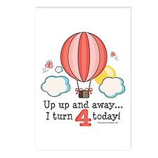 Fourth 4th Birthday Hot Air Balloon Postcards (Pac