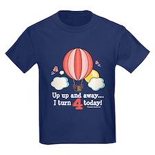 Fourth 4th Birthday Hot Air Balloon T
