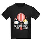 Fourth 4th Birthday Hot Air Balloon Kids Dark T-Sh