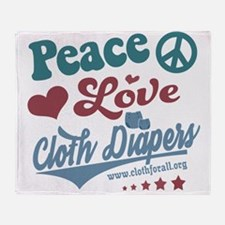 Peace Love & Cloth Diapers Throw Blanket