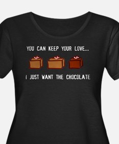 Keep Love, Gimme Chocolate - Black Plus Size T-Shi