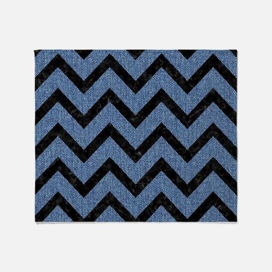 CHEVRON9 BLACK MARBLE & BLUE DENIM ( Throw Blanket