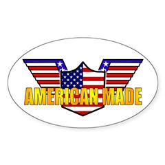 American Made Patriotic Oval Decal