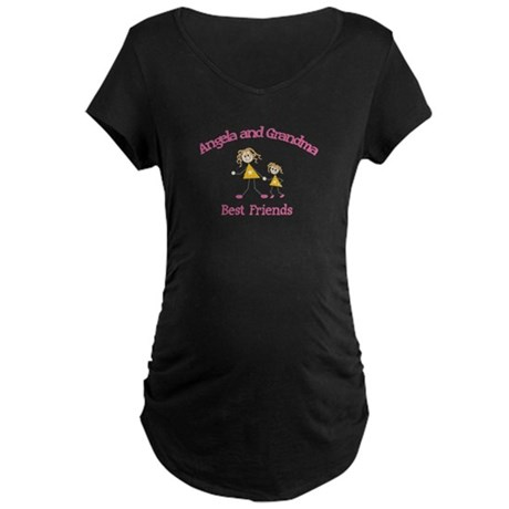 Angela & Grandma - Best Frien Maternity Dark T-Shi