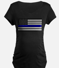 Blue Lives Matter US Flag Police Maternity T-Shirt