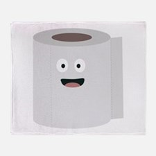 Toilet paper with face Throw Blanket
