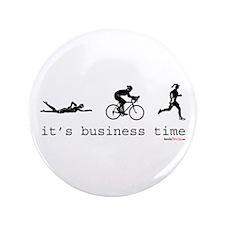 """It's Business Time Triathlon 3.5"""" Button"""