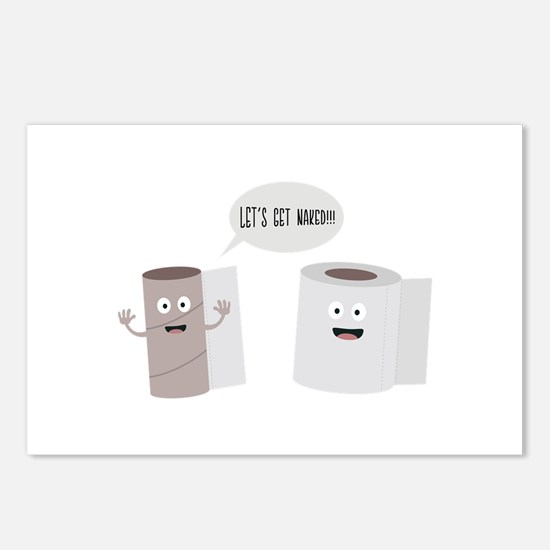 Toilet roll tissue cartoo Postcards (Package of 8)