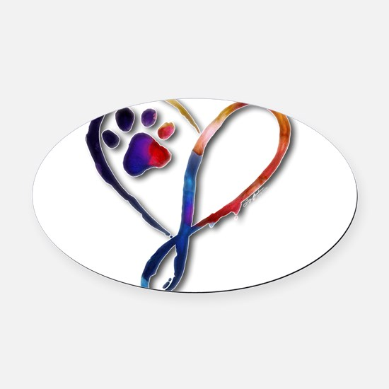 Infinity Paw Oval Car Magnet