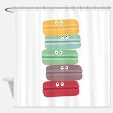 Colorful macarons with eyes Shower Curtain