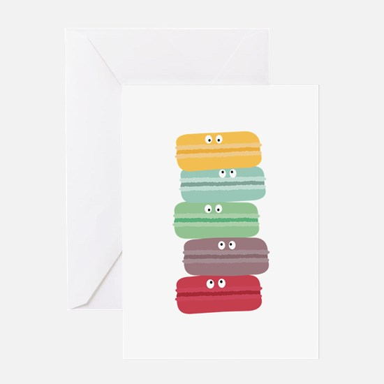 Colorful macarons with eyes Greeting Cards