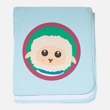 Cute Sheep with purple Circle baby blanket
