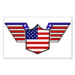 American Flag Patriotic Wings Sticker (Rectangular