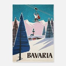 Bavaria, Germany Vintage Ski Travel 5'x7'a