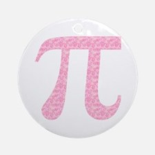 Pink Heart Pi Ornament (Round)
