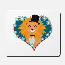 Lion with hat in flower heart Mousepad