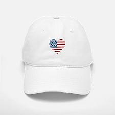usa flag heart Baseball Baseball Cap
