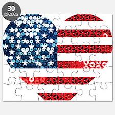 usa flag heart Puzzle