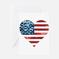 usa flag heart Greeting Cards