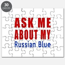 Ask Me About My Russian Blue Cat Designs Puzzle