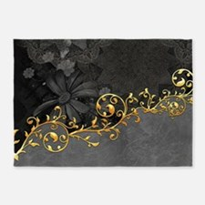 Wonderful floral design in grey and gold 5'x7'Area