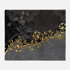 Wonderful floral design in grey and gold Throw Bla