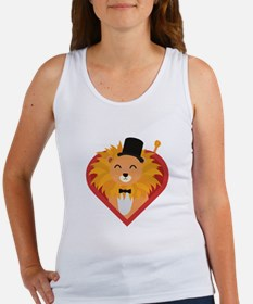 Lion with Hat in heart Tank Top