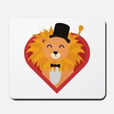 Lion with Hat in heart Mousepad