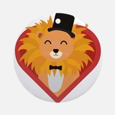 Lion with Hat in heart Round Ornament