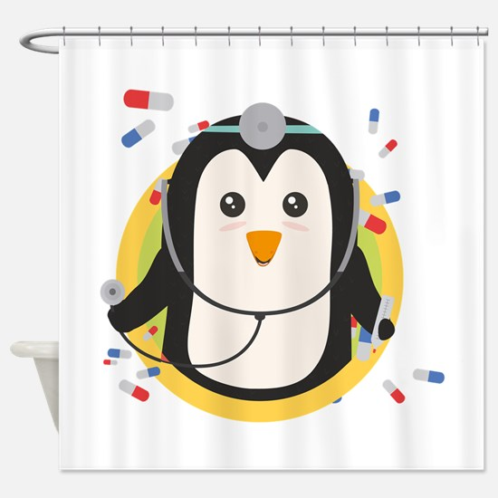 Penguin doctor in circle Shower Curtain