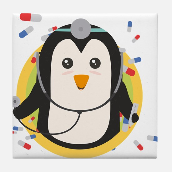 Penguin doctor in circle Tile Coaster