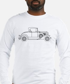 Early Motor Car Outline Long Sleeve T-Shirt