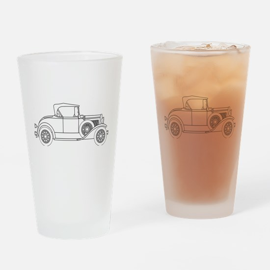 Early Motor Car Outline Drinking Glass