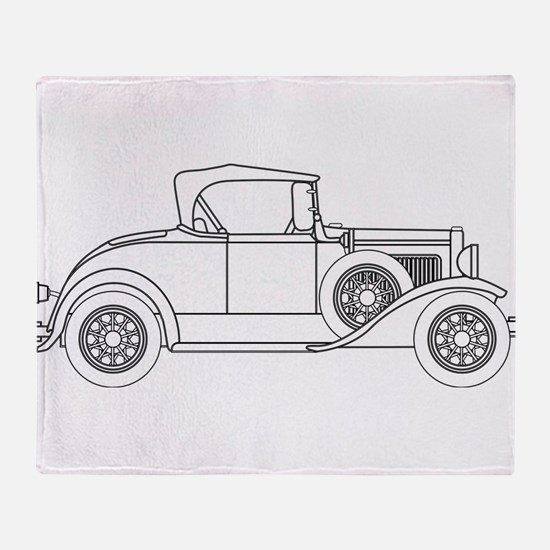 Early Motor Car Outline Throw Blanket