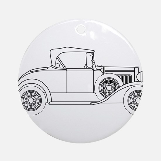 Early Motor Car Outline Round Ornament