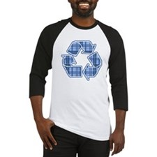 Blue Plaid Recycle Sign Baseball Jersey