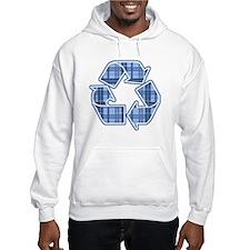 Blue Plaid Recycle Sign Hoodie