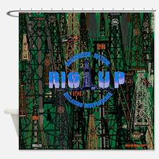 RIG UP CAMO Oilfield Shower Curtain