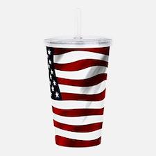 Waving American Flag Acrylic Double-wall Tumbler