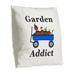 Garden Addict Burlap Throw Pillow