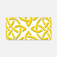 Yellow Trinity Knot Aluminum License Plate