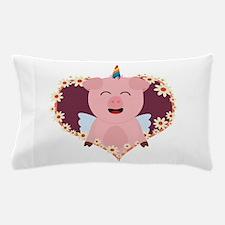 Unicorn angel pig in flower heart Pillow Case
