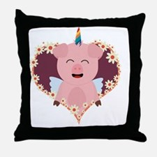 Unicorn angel pig in flower heart Throw Pillow