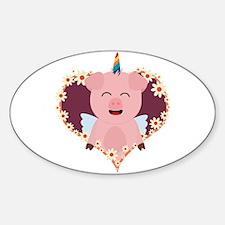 Unicorn angel pig in flower heart Decal