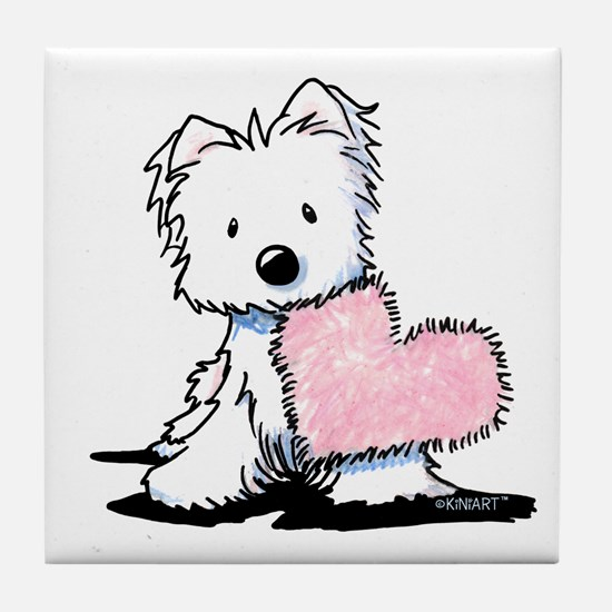 KiniArt Westie Warm Fuzzy Tile Coaster