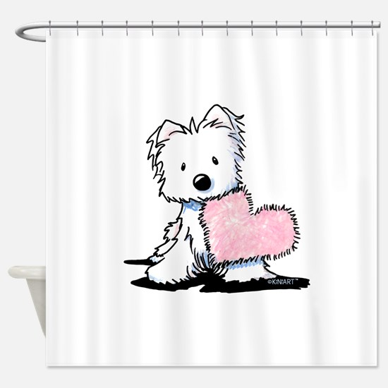KiniArt Westie Warm Fuzzy Shower Curtain