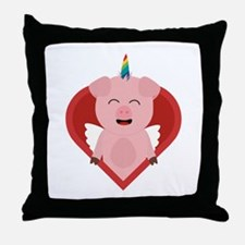 Unicorn Pig with Angelwings Throw Pillow