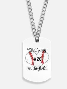 baseball heart on field Dog Tags