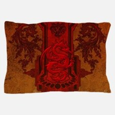 Chinese draon on button in red colors Pillow Case